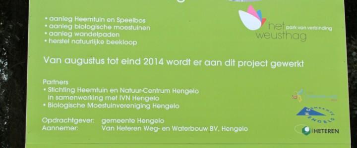 Met een bord langs de Dijksweg staat in 2014 de aanlage van de bilogische moestuin aangekondigd.